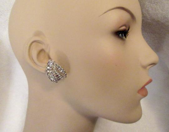 Other Pennino Crystal Baguette Clip Earrings 1950's Mid Century Signed Image 5