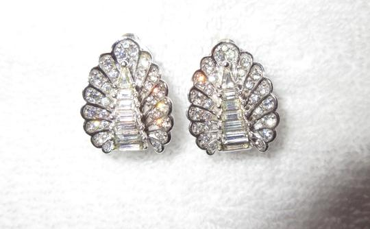 Other Pennino Crystal Baguette Clip Earrings 1950's Mid Century Signed Image 7