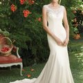 Casablanca Champagne/Silver Fabric: Perfecting Satin with Charmeuse Style 2284 Petunia Feminine Wedding Dress Size 6 (S) Image 0