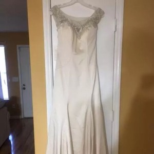 Casablanca Champagne/Silver Fabric: Perfecting Satin with Charmeuse Style 2284 Petunia Feminine Wedding Dress Size 6 (S)