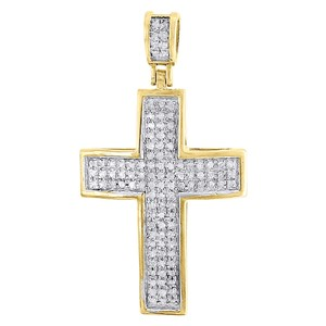 Jewelry For Less Domed Diamond Cross Pendant 10K Yellow Gold Pave Mini Charm 0.50 Tcw.