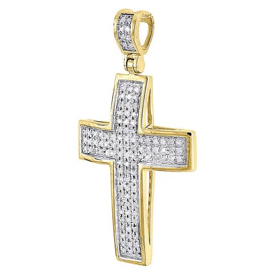 Jewelry For Less Domed Diamond Cross Pendant 10K Yellow Gold Pave Mini Charm 0.50 Tcw. Image 1