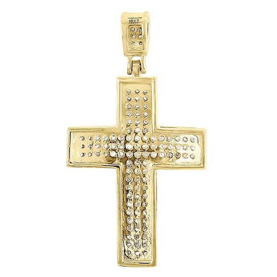 Jewelry For Less Domed Diamond Cross Pendant 10K Yellow Gold Pave Mini Charm 0.50 Tcw. Image 2