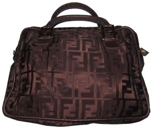 Fendi Dressy Or Casual Excellent Vintage Has Dust Two Way Style Early Sas Satchel in brown large F logo print canvas & brown leather