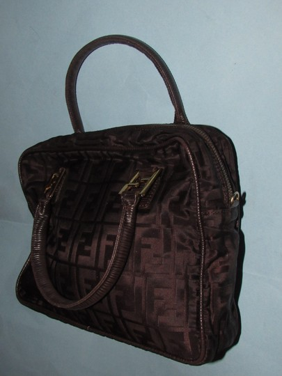 Fendi Excellent Vintage Has Dust Two Way Style Early Sas Satchel in brown large F logo print canvas & brown leather Image 2