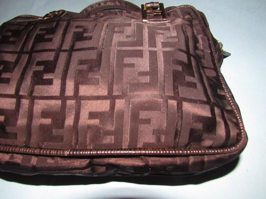 Fendi Excellent Vintage Has Dust Two Way Style Early Sas Satchel in brown large F logo print canvas & brown leather Image 3