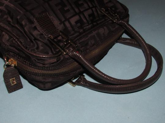 Fendi Excellent Vintage Has Dust Two Way Style Early Sas Satchel in brown large F logo print canvas & brown leather Image 7
