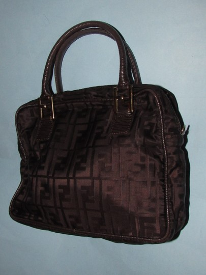 Fendi Excellent Vintage Has Dust Two Way Style Early Sas Satchel in brown large F logo print canvas & brown leather Image 8