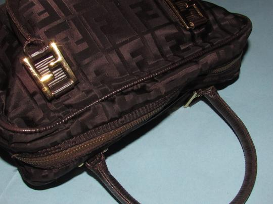 Fendi Excellent Vintage Has Dust Two Way Style Early Sas Satchel in brown large F logo print canvas & brown leather Image 9
