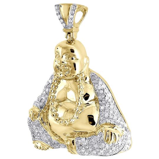 Jewelry For Less Diamond Laughing Buddha Pendant Mens .925 Sterling Silver Charm .60 Ct Image 1
