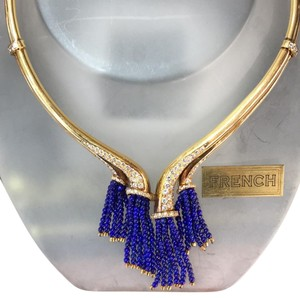 French Gold necklace with diamonds and Lapis bead Tassels