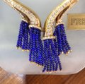 French Gold necklace with diamonds and Lapis bead Tassels Image 1