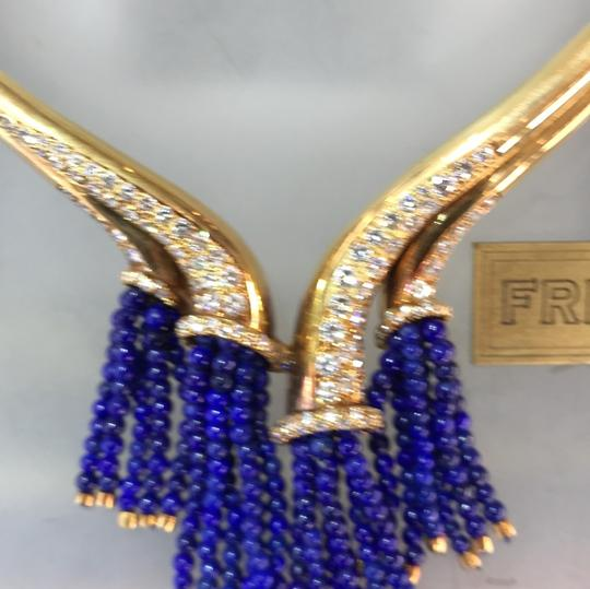 French Gold necklace with diamonds and Lapis bead Tassels Image 2