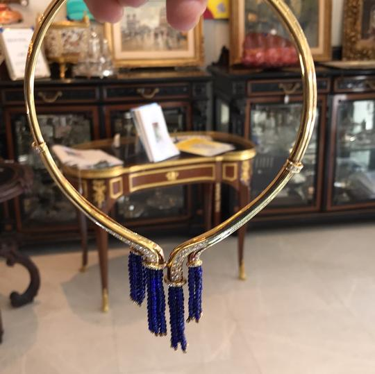 French Gold necklace with diamonds and Lapis bead Tassels Image 4
