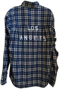 Kavu Los Angeles Plaid Long Sleeves Button Down Shirt Blue