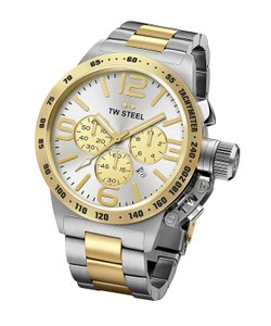 TW Steel Men's TW Steel Canteen Chronograph Two Tone Watch with Silver Dial