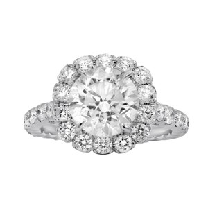 One Of Kind Halo Diamond Engagement with 4.38 Carats.certified Ring