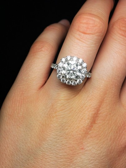 One Of Kind Halo Diamond Engagement with 4.38 Carats.certified Ring Image 1