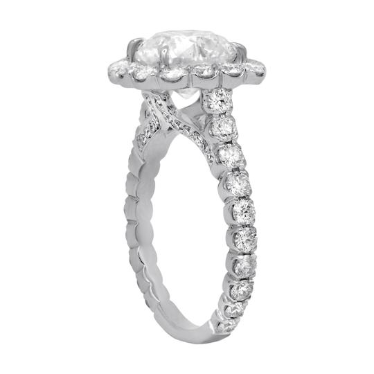 One Of Kind Halo Diamond Engagement with 4.38 Carats.certified Ring Image 3