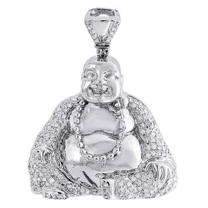 Jewelry For Less Diamond Laughing Buddha Pendant Mens .925 Sterling Silver Charm .60 Ct