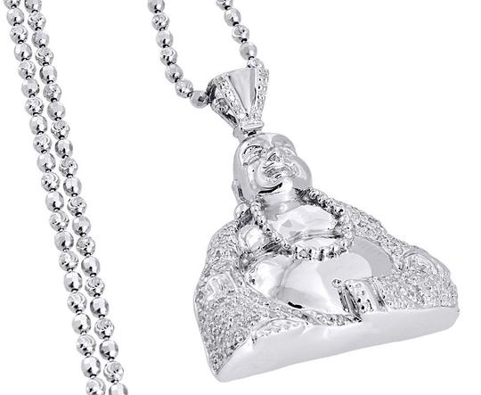 Jewelry For Less Diamond Laughing Buddha Pendant Mens .925 Sterling Silver Charm .60 Ct Image 3