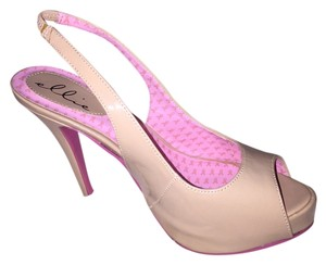 Ellie Shoes Slingback Bottom Sole Breast Cancer Awareness Stilleto Tan and Pink Pumps
