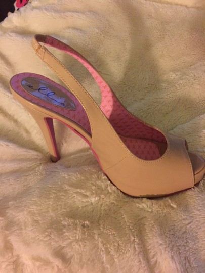 Ellie Shoes Slingback Ellies Bottom Sole Breast Cancer Awareness Stilleto Tan and Pink Pumps