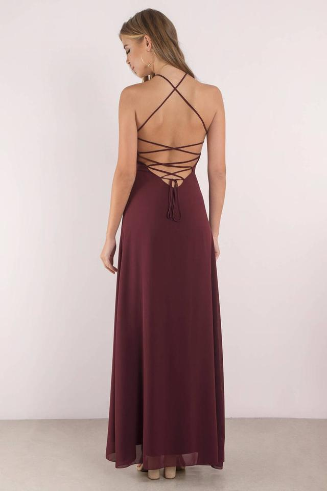 70a7e46862 Tobi Wine Red Rise Above Lace Up Maxi Long Formal Dress Size 8 (M ...