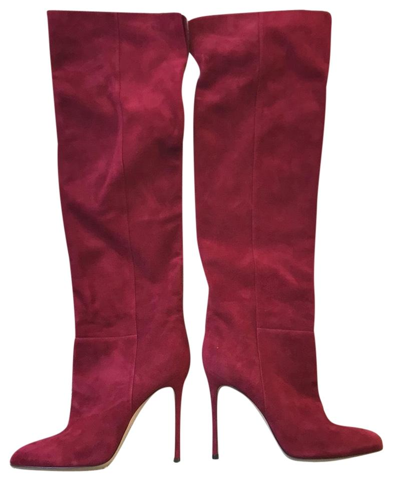 5ffc4d7a17d Gianvito Rossi Red Suede Over The Knee Boots Booties Size EU 41 ...