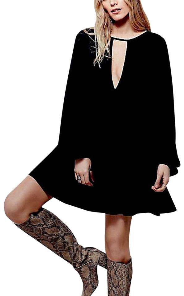 a148ddf099 Free People short dress Black Fp Swingy Tunic Raw Floral Mesh Boho Festival  Chic Bell Sleeve ...