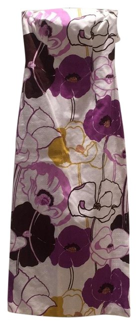 Item - White with Purple and Green Floral Pattern Strapless Cotton Party Long Casual Maxi Dress Size 6 (S)