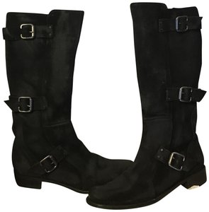Charles by Charles David Moto 3buckles Invisible Zipper Modern Look Black distressed suede Boots