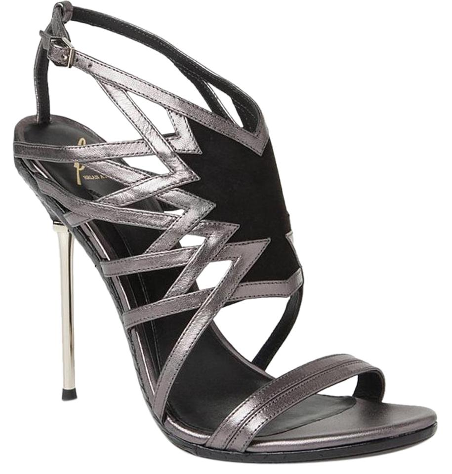 Brian Atwood Pewter Black Marseille Open Toe High Heel Sandals Size US 8.5 Regular (M, B) 88% off retail