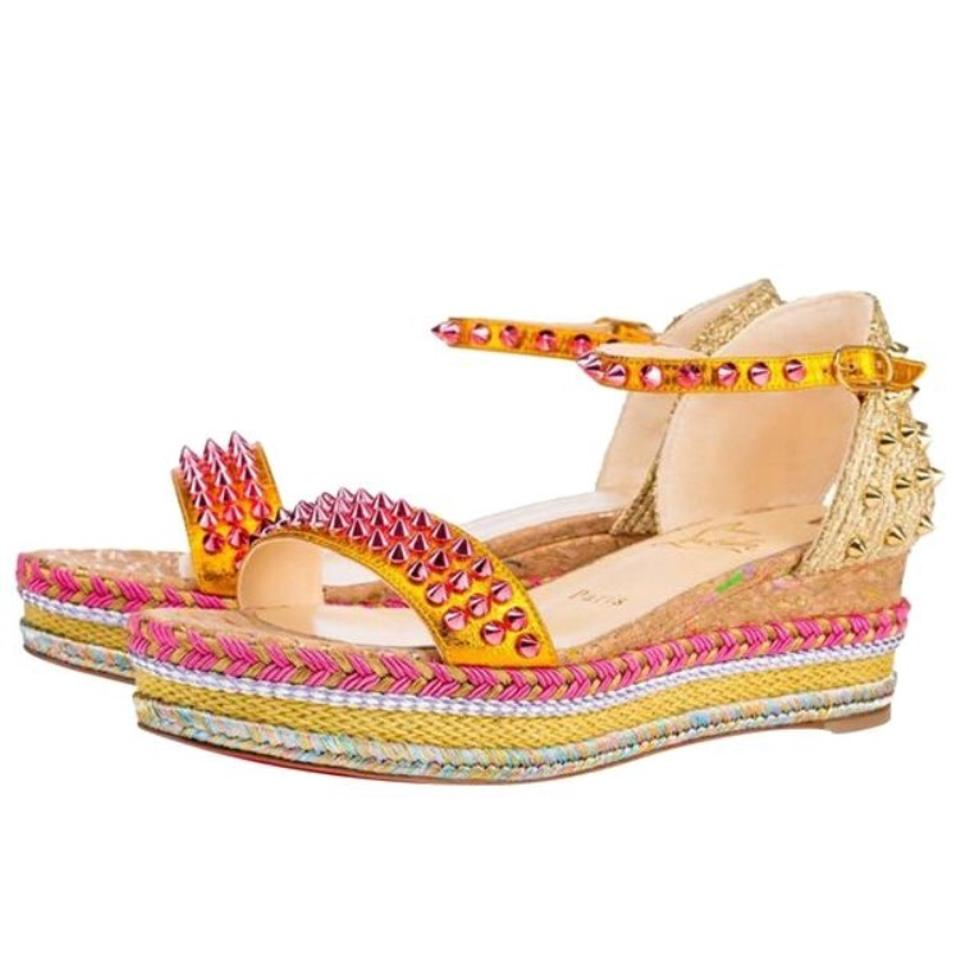 Christian Louboutin Gold Multicolor Madmonica Full Moon Gold Louboutin Yellow Color Flats Sandals d8b56f