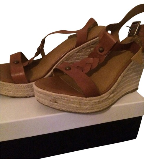 Zodiac Braided Leather T Strap brown Wedges