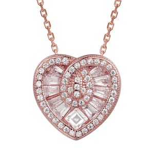 Master Of Bling Baguette Stones Heart 14k Rose Gold Finish Pendant Gift Set