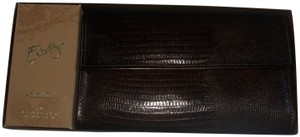 Amity Wallet Embossed Leather Check Book Billfold Brown Clutch