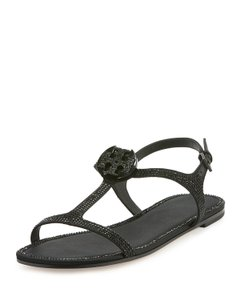 Tory Burch Crystal Logo Delphine Black Sandals