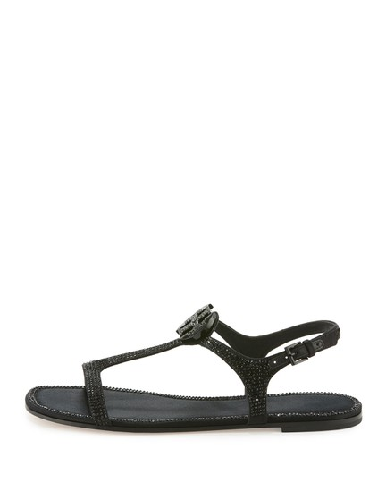 Tory Burch Crystal Logo Delphine Black Sandals Image 2