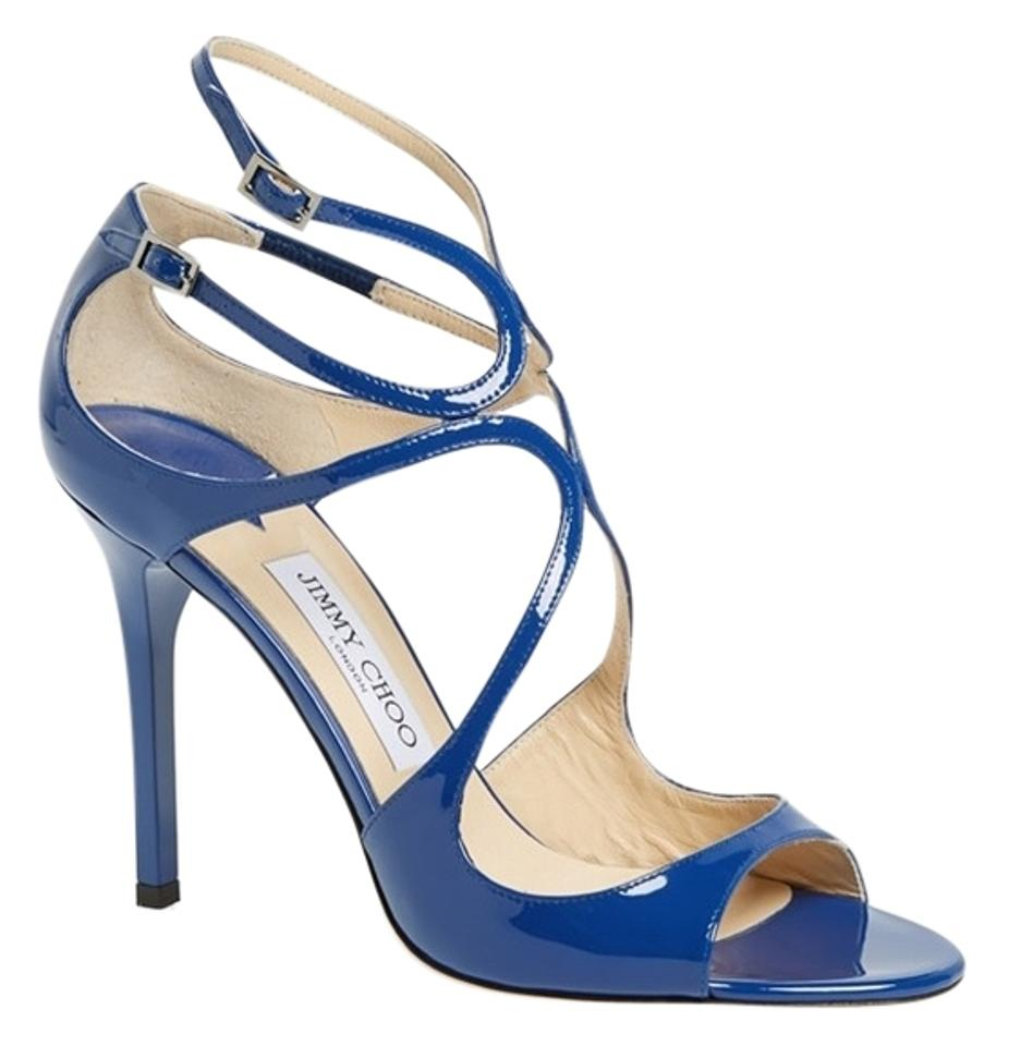 Jimmy Choo Blue Lang Royal Sandals Patent Leather Strappy 36.5 Sandals Royal 402aef