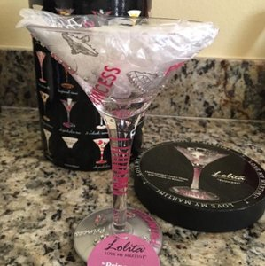"Lolita Glass Painted Martini Entitled ""Princess"". Barware"