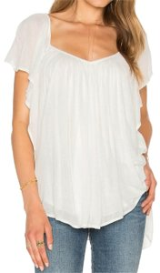Free People Pleated Hi Lo Chiffon Top White