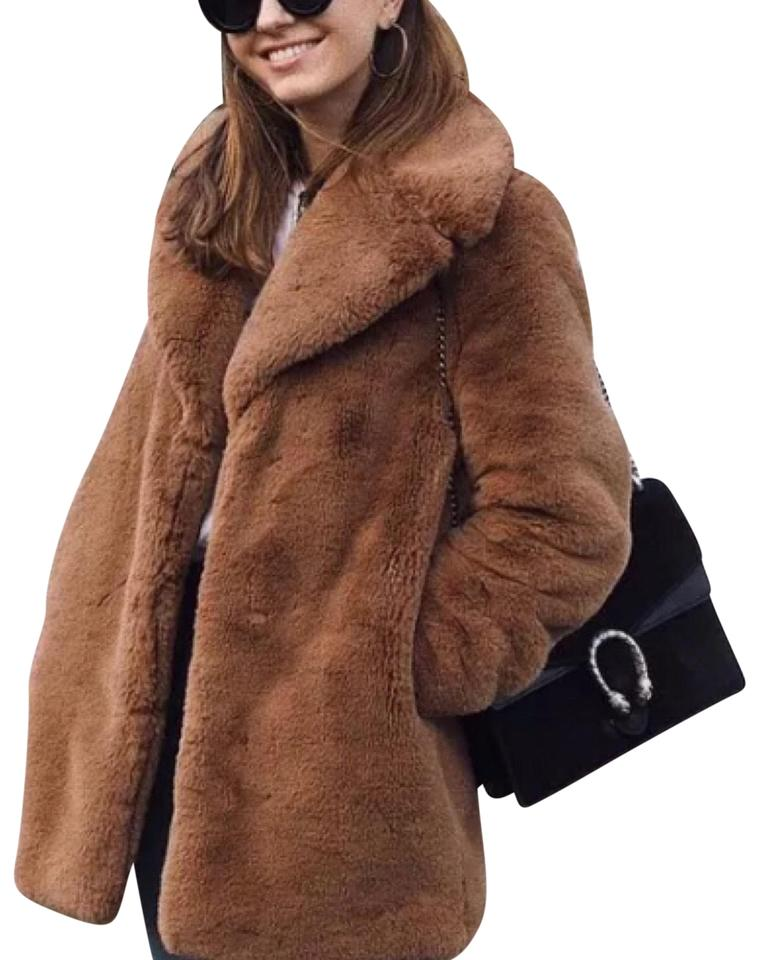 f8f9d348 Zara Brown Tan Teddy Bear Faux Jacket Coat Size 2 (XS)