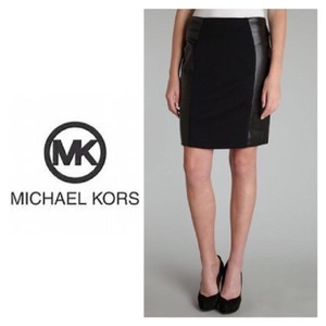 Michael Kors Faux Leather Pencil Exposed Zipper Skirt Black