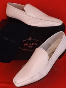 Prada White Perforated Leather Lettering Logo Derby Loafers 9.5 Us 10.5 Shoes