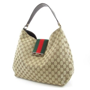 Gucci Gg Monogram Web Canvas Hobo Bag