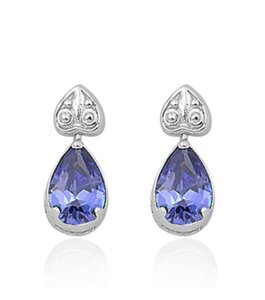 9.2.5 Adorable tanzanite upside down heart dangle earrings