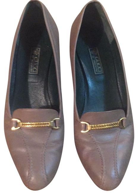 Item - Gray Leather with Gold Hardware Flats Size US 8.5 Narrow (Aa, N)