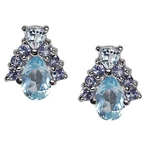 NY Collection Natural Blue Topaz Tanzanite Cluster Push Back Womens Small Studs