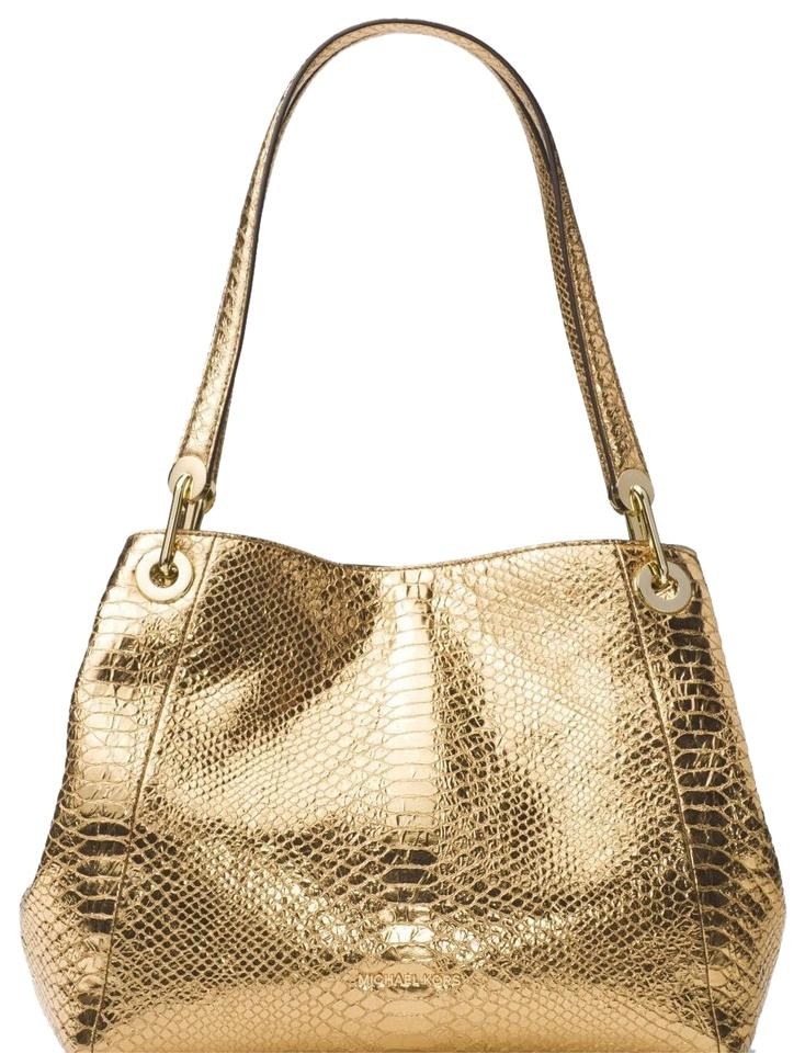 9cded3427e36 MICHAEL Michael Kors Raven Metallic Embossed-leather Gold Leather ...